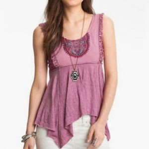 Free People Handkerchief Embroidered Tank Top Sz S